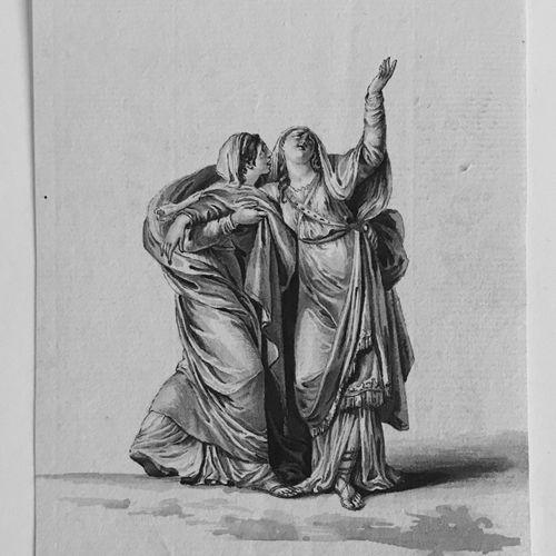 ECOLE FRANCAISE fin du XVIIIe début XIXe  Scène Antique  Dessin à l'encre (en fe…