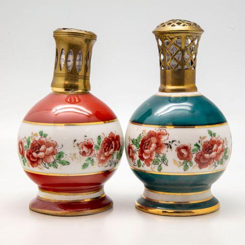 Manufacture d'Art des porcelaines de Couleuvre  Deux lampes Berger en porcelaine…