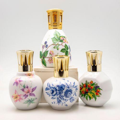 Artoria ARTORIA Limoges  Quatre lampes Berger en porcelaine à décor émaillé poly…