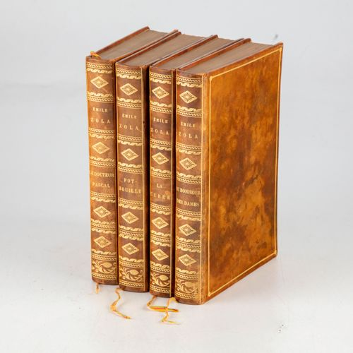 ZOLA ZOLA (Émile). Ensemble de 4 ouvrages, éditions originales, offerts par Émil…