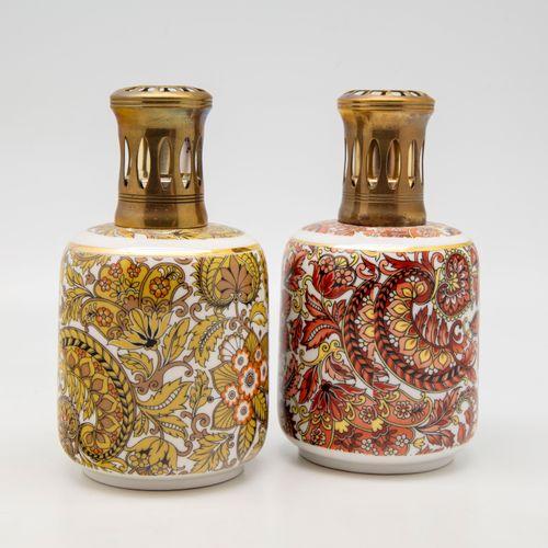 PILLIVUYT PILLIVUYT  Deux lampes Berger en porcelaine du modèle Cachemire  Marqu…