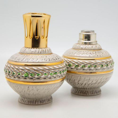 Jacques BREUGNOT  Paire de lampes BERGER en céramique à décor émaillé et doré, m…
