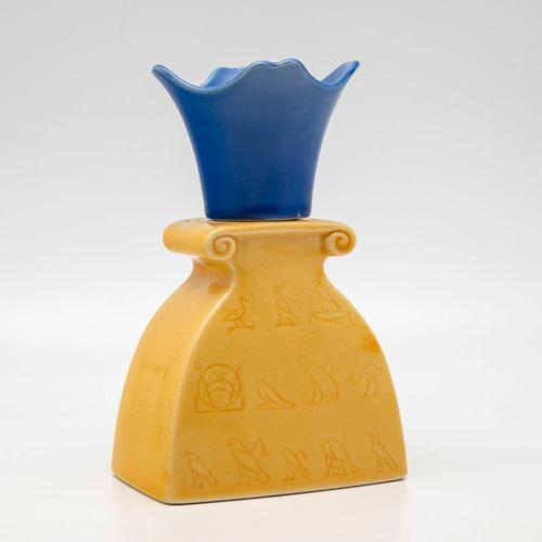 Lampe Berger en céramique polychrome à décor du modèle 3147 Hieroglyphes  H:.16,…