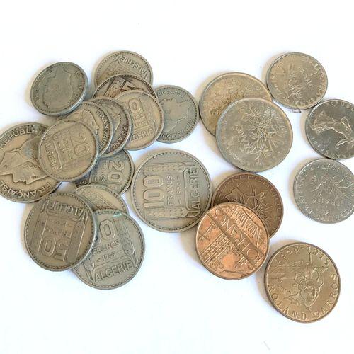 Ensemble de pièces de monnaie FRANCE  Francs et Francs Algérie française ....  E…