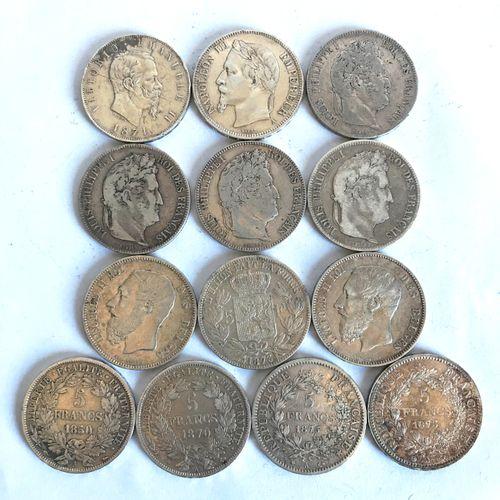 Lot comprenant 13 pièces en argent de : 5 francs, 5 francs Belge et 5 lires ital…