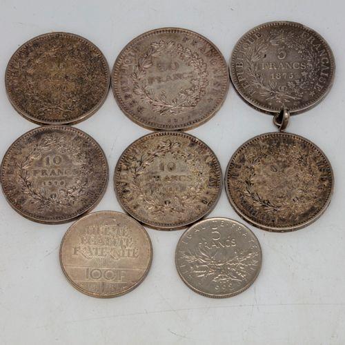 Lot de pièces en argent dont une 50 francs argent, cinq 10 francs argent, une 10…