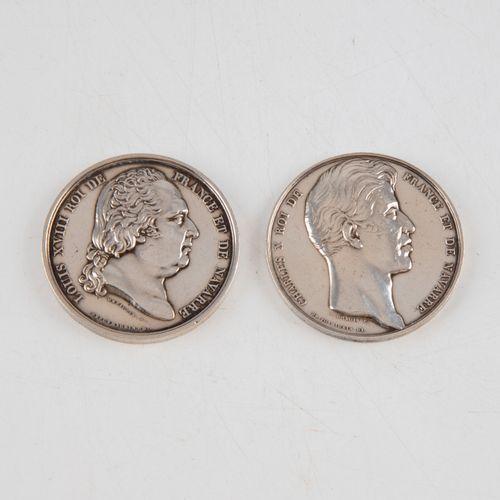 Deux pièces Chambre de commerce de Rouen en argent  Louis XVIII et Charles X