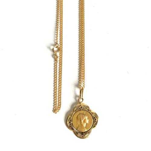 Chaine et médaille religieuse en or jaune (750e)  On y joint une alliance en or …
