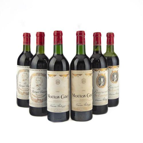 2 B CHATEAU MOUTON CADET (1 B.G. 1 T.L.B ; e.F.S.) Bordeaux 1982 2 B LE BERGER B…