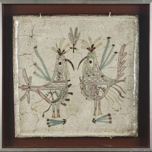 Gustave REYNAUD Le Mûrier Plat encadré en céramique Signé au dos d'une feuille d…