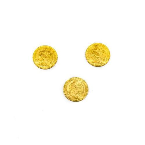 3 x 20 Francs or au coq