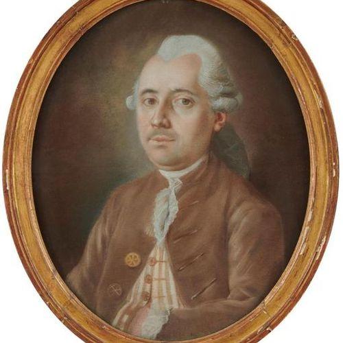 ECOLE FRANCAISE du XVIIIe siècle Portrait d'homme en perruque Pastel ovale sur p…