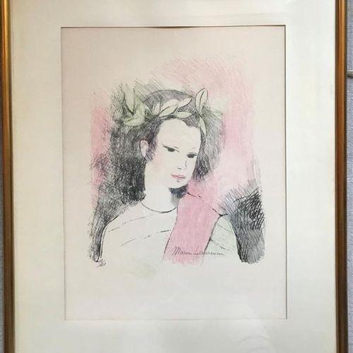 D'après Marie LAURENCIN (1883 1956) Portrait de jeune femme à la couronne de lau…