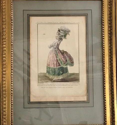 """Suite de deux gravures de mode aquarellées issues de la """"Galerie des modes et de…"""
