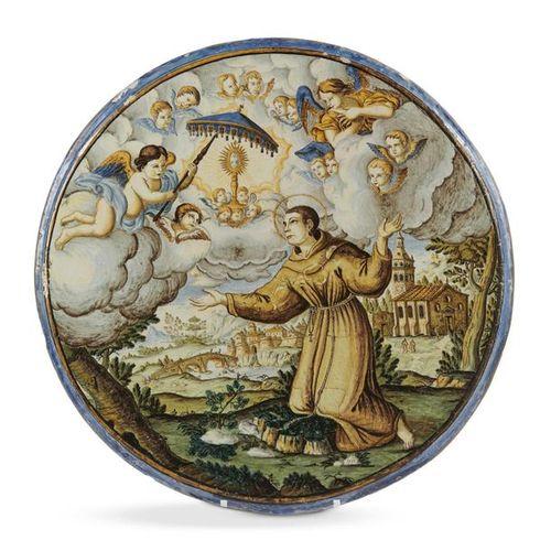 Castelli Grande plaque circulaire en majolique à décor polychrome d'une scène re…