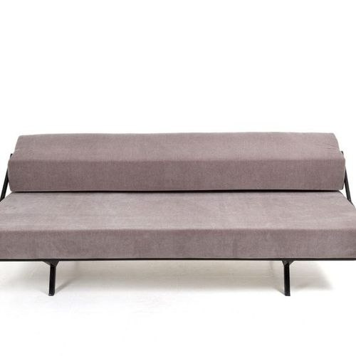 IPE. Metal and gray velvet sofa. '60s Painted metal sofa with adjustable seat an…