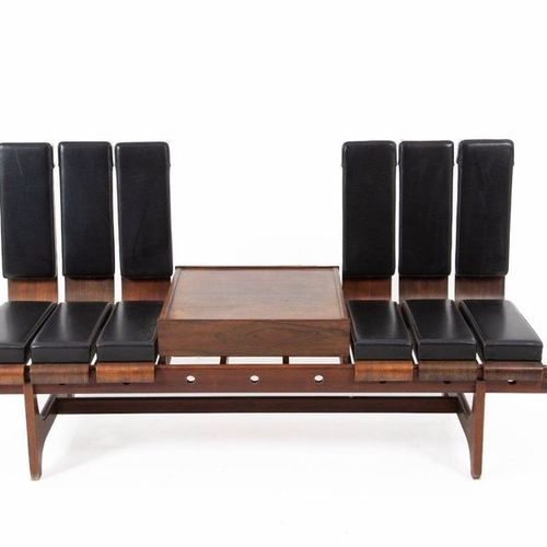 BAROVERO. Wooden and leather modular sofa. '50s Rare modular sofa in wood and le…
