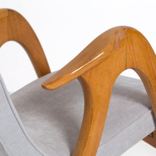 MALATESTA & MASSON. Pair of wooden armchairs Pair of armchairs in wood and grey …