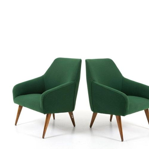 GIO PONTI for CASSINA. Pair of wooden armchairs GIO PONTI (Milan, 1891 1979) for…