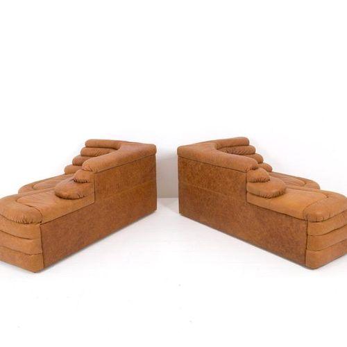 UBALD KLUG DE SEDE. Leather Terrazze sofa. '70s UBALD KLUG (St. Gallen, 1932) fo…