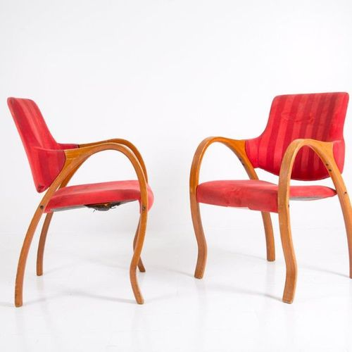 GIORGETTI. Pair of wooden and velvet armchairs. '50s Pair of wooden and velvet a…