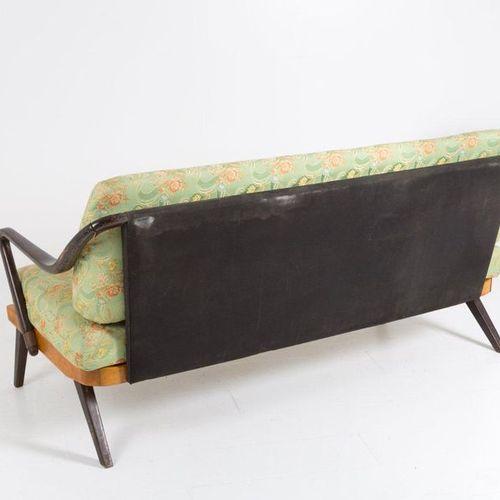 Italian wooden and original fabric sofa. '50s Sofa in wood and original fabric. …