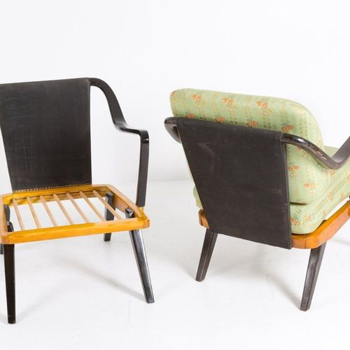 Pair of italian wooden armchairs. '50s Pair of armchairs in wood and original fa…
