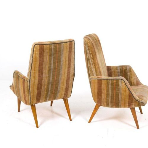CARLO DE CARLI for CASSINA. Two wooden armchairs CARLO DE CARLI (Milan, 1910 199…