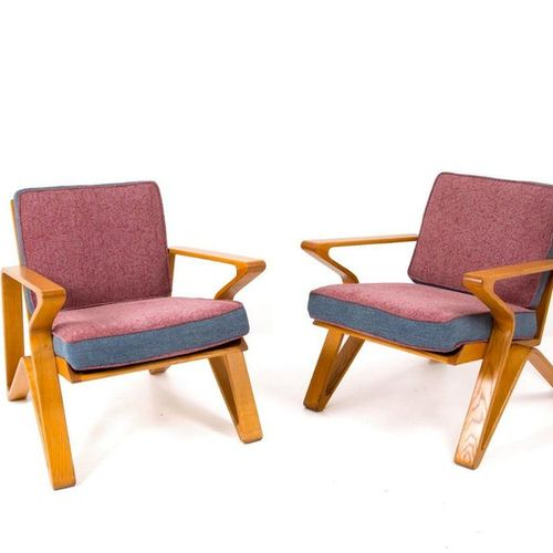 Pair of italian wooden and fabric armchairs. Pair of armchairs in wood and fabri…