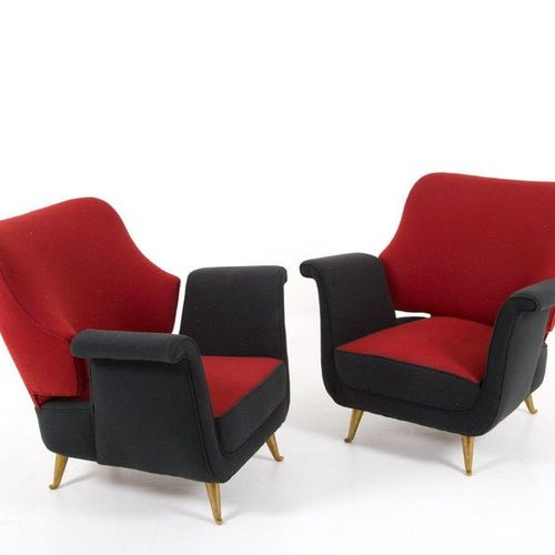 ISA. Pair of brass and fabric armchairs. '50s Pair of armchairs in brass and bla…