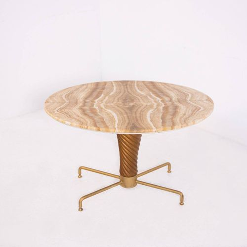 MARIO QUARTI. Wood, onyx and brass table. 1950s MARIO QUARTI. Table avec cadre e…