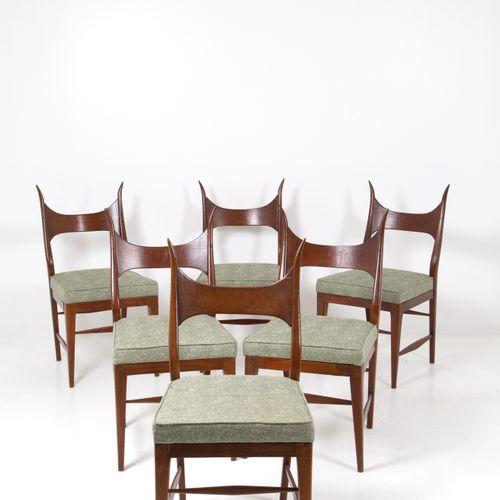 EDWARD WORMLEY. Six wooden chairs. 1950s EDWARD WORMLEY (Oswego, 1907 Illinois, …