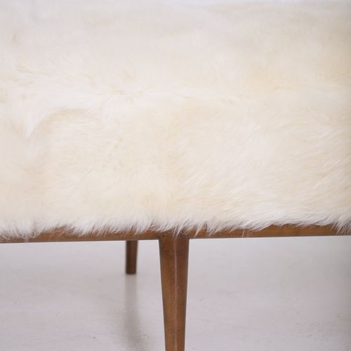 T. H. ROBJOHNS GIBBINS Wooden daybed in goat hair TERENCE HAROLD ROBJOHNS GIBBIN…