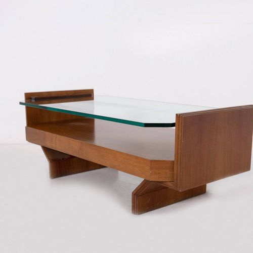 VITTORIO GREGOTTI (Attr). Wooden and glass table VITTORIO GREGOTTI (Attr.) (Nova…