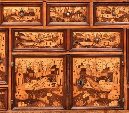 CABINET in marquetry of partially stained indigenous woods (ash, maple, boxwood,…