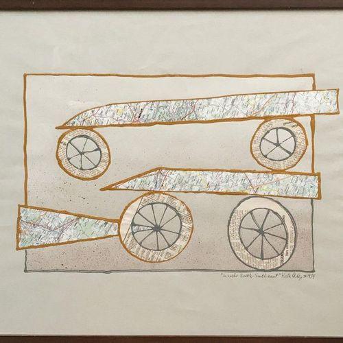 Alex Kosta (1925–2005) Wheels, South south east, 1974 Collage et peinture sur pa…