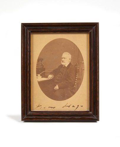 HUGO, victor. Photographic portrait. Paris, J.M. Lopez, [1877]. Silver print mou…