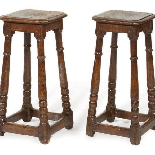 PAIR OF TABOURETS in walnut, feet turned in ringed column and rosary joined by a…