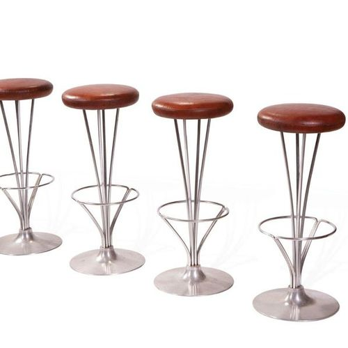 "Piet Hein (1905 1996) A set of 4 stools model ""FL 9511"" Cognac leather and chrom…"