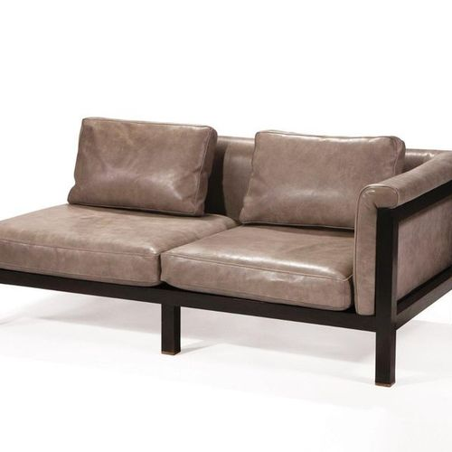 Jules Wabbes (1919 1974) ** Two sofas and two pieces of sofa Stained wood, leath…