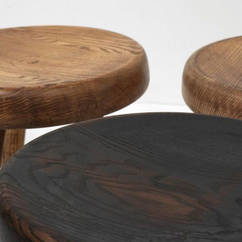 """Charlotte PERRIAND (1903 1999) Low stool called """"Berger"""" stool Tinted wood Steph…"""