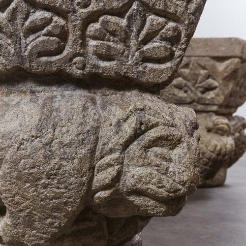 Pair of stone capitals carved on all sides. Decoration of birds with outstretche…