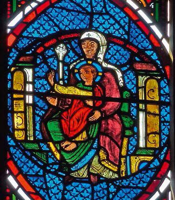 Stained glass stained glass window depicting the Magi in an arc of a circle. The…