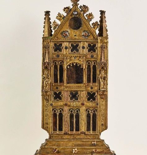 Large reliquary with a wooden core covered with cut, stamped, chiselled, silvere…