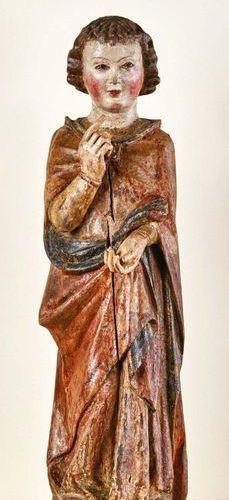 Carved, polychromed and gilded linden tree thuriferous angel, sketched back. Gen…