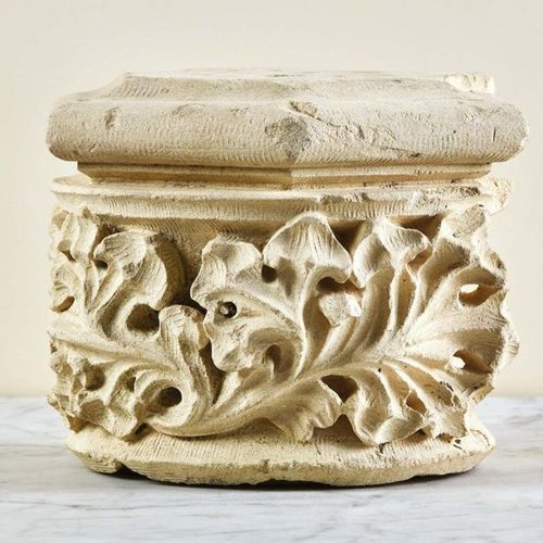Suite of three hexagonal shaped carved limestone column capitals. Decoration of …