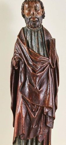 St. Apostle (St. Peter?) in oak carved in the round and polychromed. Standing wi…
