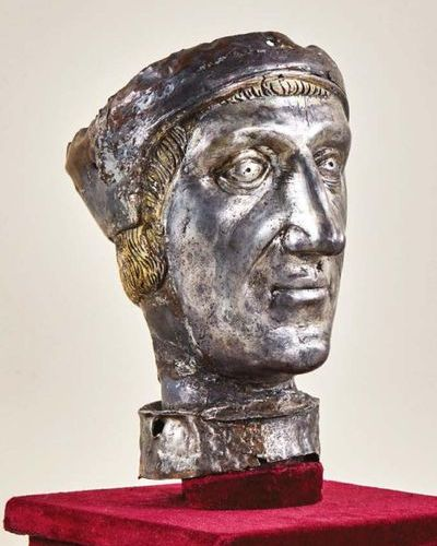 Head of a reliquary bust in repoussé copper, chased, engraved, silvered and gild…