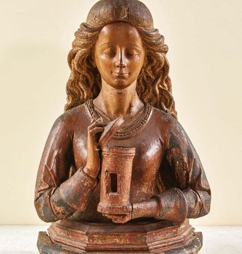 Walnut reliquary bust of Mary Magdalene carved with polychrome and gilding remai…