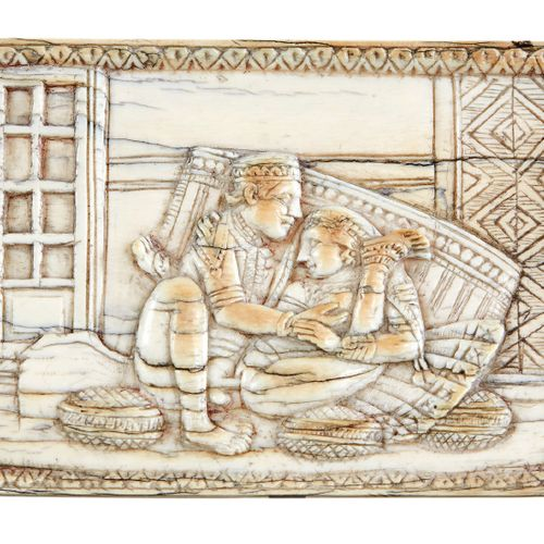 Rare set of eight ivory casket or cabinet plates carved in bas relief of erotic …
